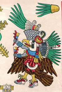 Pic 3: Tezcatlipoca as an eagle or royal vulture. Codex Borbonicus 13.