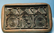 This clay stamp mould in the National Museum of Anthropology, Mexico City is 17 cms long.