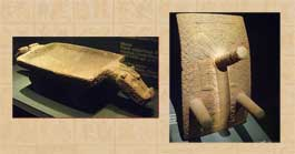 Pottery metate with the form of a jaguar, 800-1500 CE and volcanic stone metate, Guanacanasta-Nicoya region, 200 BCE - 400 CE, both from Costa Rica, Museu Barbier-Mueller D'Art Precolombí, Barcelona