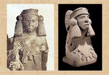Pic 11: Number 30, Chalchiuhtlicue (L) and a similar British Museum Chalchiuhtlicue (R)