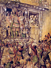 Pic 5: Detail (Moctezuma addresses and is attacked by his own people), from the Enconchado series of colonial depictions of the Conquest of Mexico, Museo del Prado, Madrid