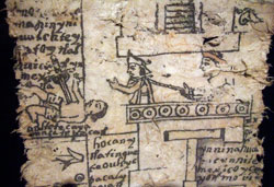 Pic 6: Detail (Moctezuma addresses his people, with a rope round his neck held by a Spaniard, with a speared Mexica [Moctezuma?] on the ground) from the Codex Moctezuma, Biblioteca Nacional de Antropología e Historia, Mexico City