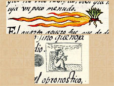 Pic 7: Two representations of the comet-in-three-parts omen presaging the fall of the Mexica world in the Florentine Codex (top, Bk 8, bottom, Bk 12)