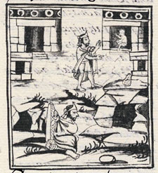 Pic 9: Moctezuma debates whether to flee to the underworld, and faces (below) the cave of Cincalco, together with the three other 'options', Florentine Codex Book 12