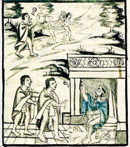 Pic 3: Scenes of foreboding in the Florentine Codex prior to the Spanish Conquest: Moctezuma's emissaries return with bad news...