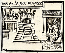 Pic 4: Scenes of foreboding in the Florentine Codex prior to the Spanish Conquest: the burning of Aztec temples is predicted...