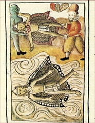 Pic 6: The Spanish toss the bodies of Moctezuma and Itzcuautzin into the water, Florentine Codex Book 12