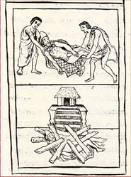 Pic 7: Moctezuma's body is carried away (top) and burned (bottom), Florentine Codex Book 12