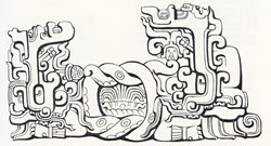 Pic 6: Double-headed Maya serpent with knotted middle section, containing what may be a representation of the watery underworld; from Altar O, Copán