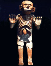 Pic 6: Mictlantecuhtli, god of the underworld: clay statue found in the House of Eagles, sacred precinct, Tenochtitlan