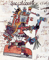 Pic 9: Quetzalcóatl as wind god, with his 'bird beak', Codex Telleriano-Remensis, f8v