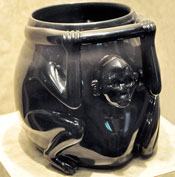 Obsidian monkey receptacle, National Museum of Anthropology, Mexico City