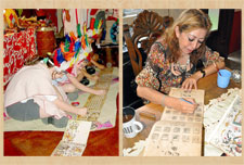 Pic 7: Children in England playing the role of Aztec scribes; Dinorah does it for real...