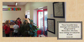 Pic 8: Two beautiful Dinorah codex reproductions adorn the library wall, Freegrounds Junior School, nr. Southampton
