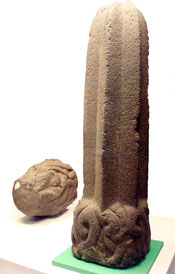 Basalt sculpture of a 'wax candle' cactus, National Museum of Anthropology, Mexico City