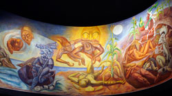 Modern Maya mural on the theme of death and re-birth, National Museum of Anthropology, Mexico City