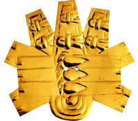 Pic 2: The gold leaf forehead adornment, found in Ofrenda no. 125 at the Templo Mayor