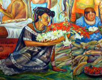 Pic 4: Detail of Maya noblewoman, from a mural of Maya life by Rina Lazo, National Museum of Anthropology, Mexico City