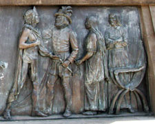 Pic 7: Moctezuma, Cortés, Doña Marina, Gerónimo de Aguilar - part of one of the friezes beneath the statue to Cuauhtémoc, Mexico City