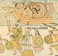 Pic 8: Cortés and Doña Marina (top) with Tlaxcaltecan allies, under attack from the Aztecs -  detail from the Lienzo de Tlaxcala, f. 45. Notice Marina bears a war shield (below).
