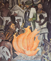 Pic 2: Cortés, accompanied by Doña Marina and her son - detail from mural of Mexican History by Diego Rivera, National Palace, Mexico City