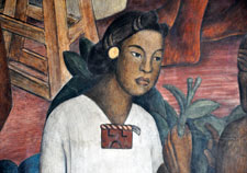 Pic 7: Solitary Aztec woman - detail from Diego Rivera's mural of Mexican History, National Palace, Mexico City