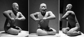 Pic 5: B/W triptych of the 'Olmec Wrestler'