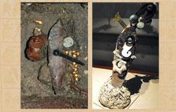 Pic 4: Cuchillo asociado con Techálotl y el inframundo (izq.) y otro, finamente ataviado, con el nivel celeste de Ehécatl-Quetzalcóatl (der.)