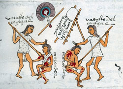 Pic 3: The fate of merchant-spies, if caught in enemy territory. Codex Mendoza folio 66r