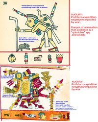 Pic 5: Dr. Matthew McDavitt's interpretation of two related panels from the Codex Fejérváry-Mayer (above) and Codex Borgia (below)