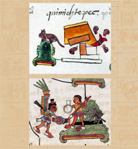 Pic 6: Place-glyphs for the town of Quimichtepec ('Hill-of-mice') from (top) Codex Mendoza folio 16r and (bottom) Codex Telleriano-Remensis folio 42v