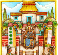 Moctezuma outside his summer house...