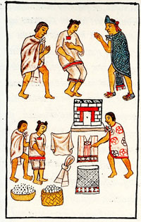 Moctezuma gives gifts to poorer members of Mexica (Aztec) society