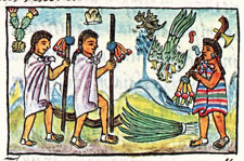 'Disguised' Aztec merchants on a business trip