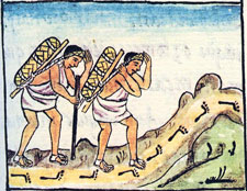 Aztec merchants returning home with goods
