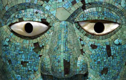 Pic 5: detail of turquoise mosaic mask; copyright Trustees of the British Museum