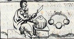 Pic 6: A Mexica craftstman working with shell, Florentine Codex Book XI