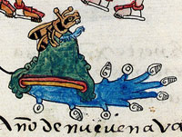 Pic 2: The glyph for Chapultepec Hill, showing abundant water supply; Codex Telleriano-Remensis f45v