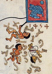 Pic 5: Detail from f32r of the Codex Telleriano-Remensis, showing the widespread famine of 1454 (Year 1-Rabbit)