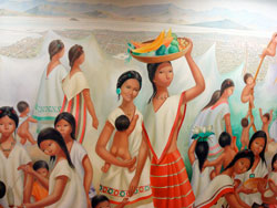 Pic 2: Detail showing Aztec women from mural by Regina Raúll, 'Paisaje Mexica' (1964), National Museum of Anthropology, Mexico City
