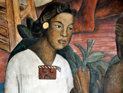 Pic 7: Mexica (Aztec) girl, detail from mural of Mexican history by Diego Rivera, National Palace, Mexico City