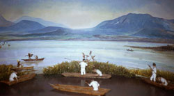 Pic 4: Fishing around Lake Texcoco, painting by unknown artist, National Museum of Anthropology, Mexico City