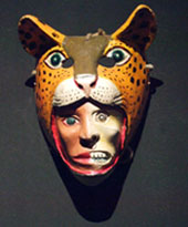 Pic 2: Life and death in human/jaguar form: contemporary mask, National Museum of Anthropology, Mexico City