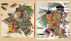 Pic 3: Claws and talons illustrate the bird 'nahual' features of some deities (and humans). Itzpapalotl, Codex Borbonicus folio 15 (L), Codex Telleriano-Remensis folio 18v (R)