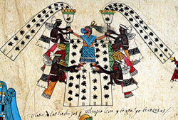 Pic 4: Note the Spanish gloss accompanying Xilonen Chicomecoatl, Codex Borbonicus folio 31