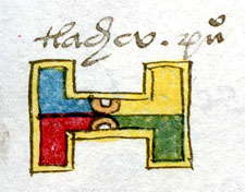 Pic 12: The place glyph for Tlachco, 'Place of the Ballcourt', Codex Mendoza folio 31