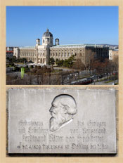 Pic 5: (Top): Museum of Natural History (Naturhistorisches Museum), Vienna, Austria. (Bottom): plaque commemorating the house of Ferdinand von Hochstetter, Esslingen am Neckar, Württemberg, Germany