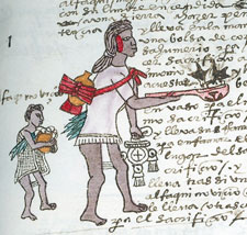 A young helper carries 'other things for the sacrifice' (what do you think they are?) behind a fully-fledged Mexica priest, Codex Mendoza folio 63r