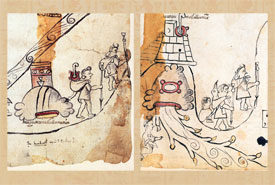 Pic 11: Loaders carrying sacred bundles: a smoking mirror, symbol of Tezcatlipoca (L), hummingbird, symbol of Huitzilopochtli (R); Codex Azcatitlan, folio 7