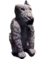 Pic 15: 'Cóyotl Ináhual' was the patron god of featherworkers; stone figure, National Museum of Anthropology, Mexico City